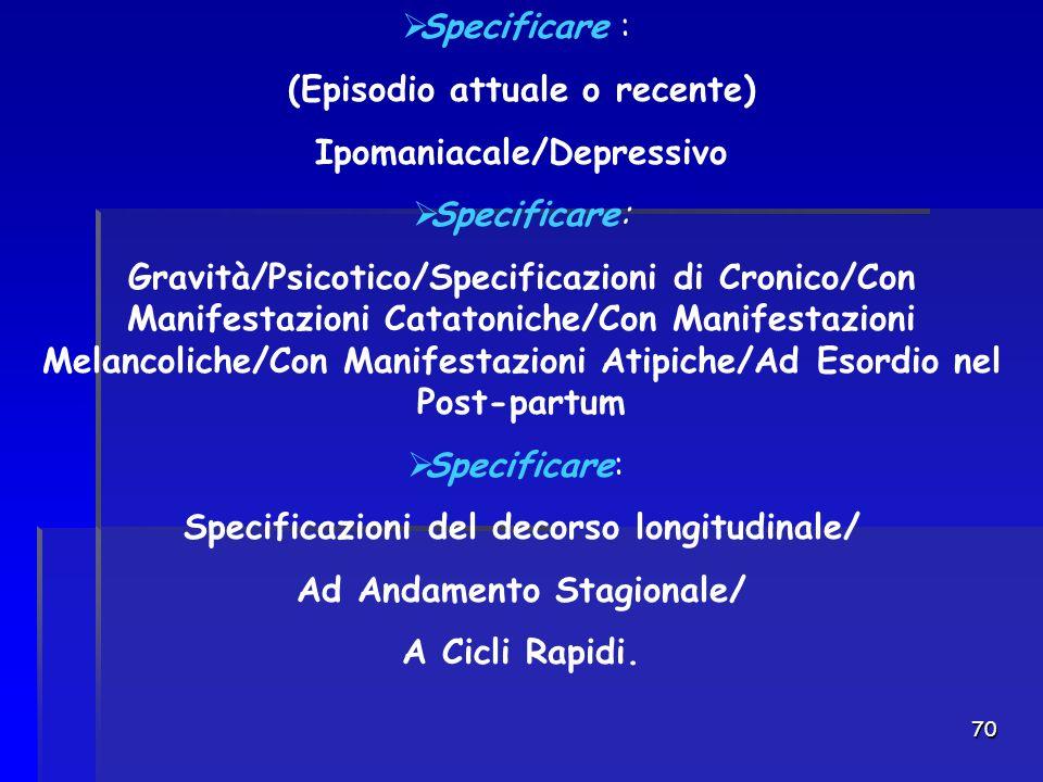 70  Specificare : (Episodio attuale o recente) Ipomaniacale/Depressivo  Specificare: Gravità/Psicotico/Specificazioni di Cronico/Con Manifestazioni