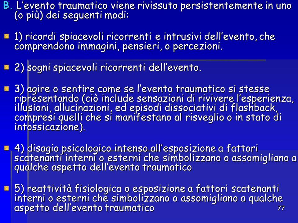 77 B. L'evento traumatico viene rivissuto persistentemente in uno (o più) dei seguenti modi: 1) ricordi spiacevoli ricorrenti e intrusivi dell'evento,
