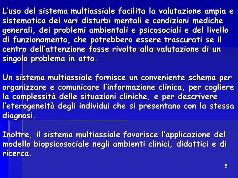 8 L'uso del sistema multiassiale facilita la valutazione ampia e sistematica dei vari disturbi mentali e condizioni mediche generali, dei problemi amb