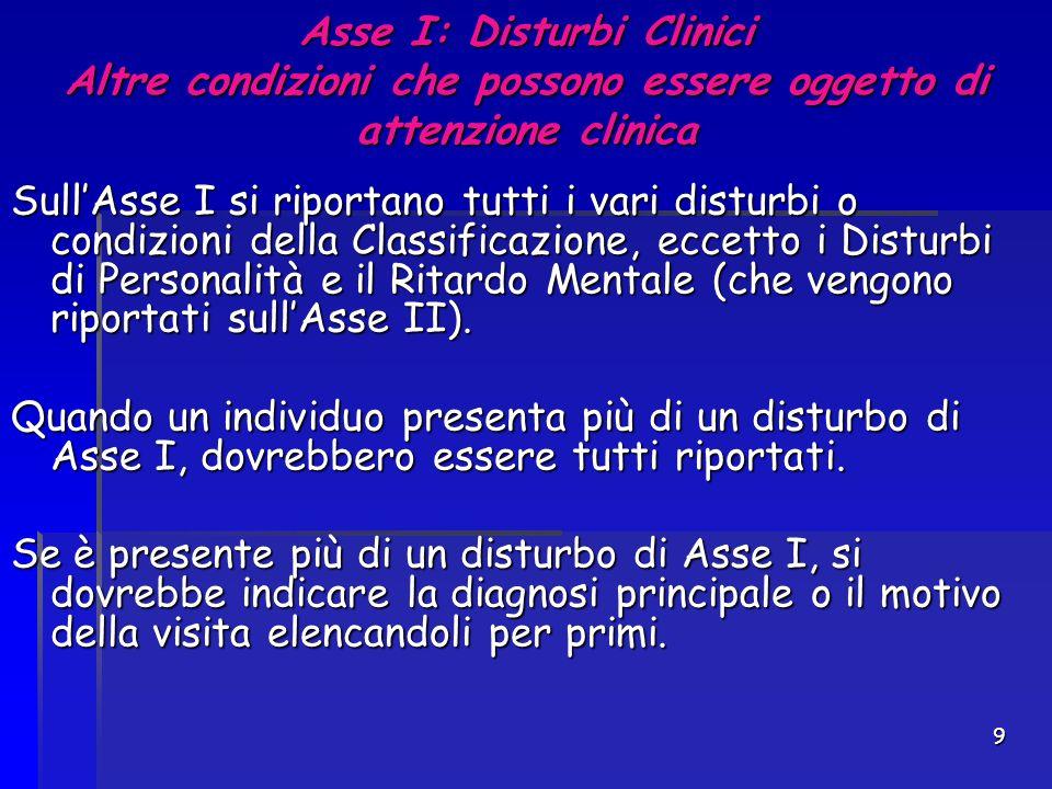 9 Asse I: Disturbi Clinici Altre condizioni che possono essere oggetto di attenzione clinica Sull'Asse I si riportano tutti i vari disturbi o condizio
