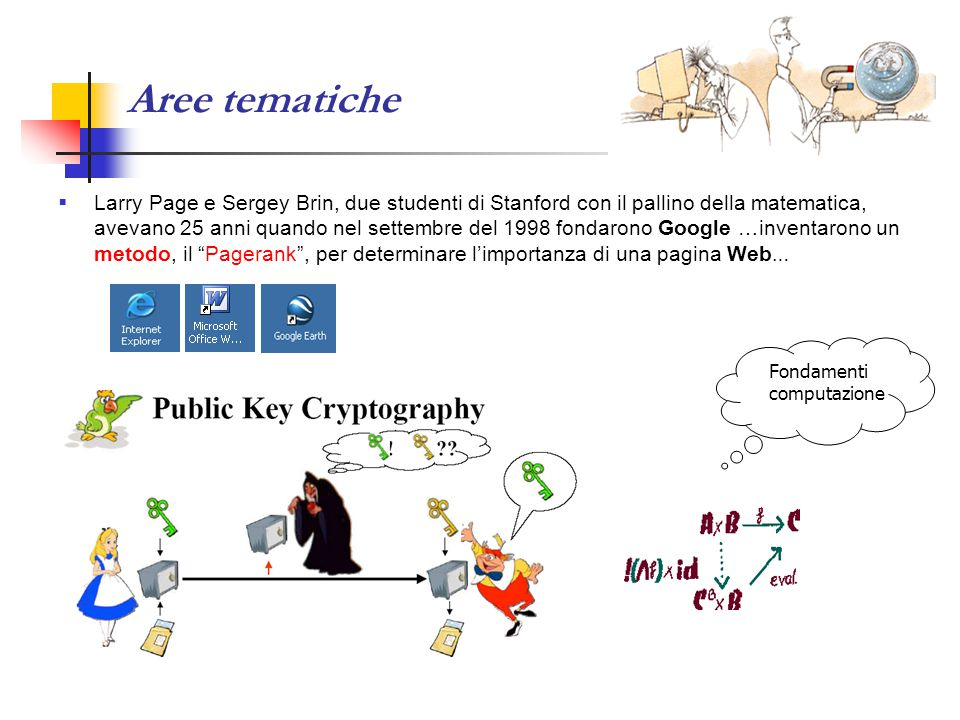 Aree tematiche  Larry Page e Sergey Brin, due studenti di Stanford con il pallino della matematica, avevano 25 anni quando nel settembre del 1998 fondarono Google …inventarono un metodo, il Pagerank , per determinare l'importanza di una pagina Web … Fondamenti computazione