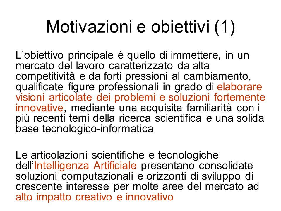 Motivazioni e obiettivi (1) L'obiettivo principale è quello di immettere, in un mercato del lavoro caratterizzato da alta competitività e da forti pre