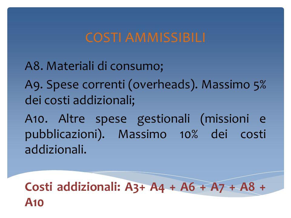 COSTI AMMISSIBILI A8. Materiali di consumo; A9. Spese correnti (overheads).