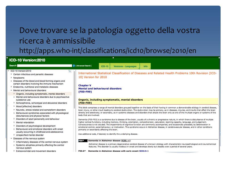 Dove trovare se la patologia oggetto della vostra ricerca è ammissibile http://apps.who-int/classifications/icd10/browse/2010/en