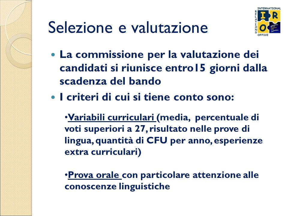 Selezione e valutazione La commissione per la valutazione dei candidati si riunisce entro15 giorni dalla scadenza del bando I criteri di cui si tiene