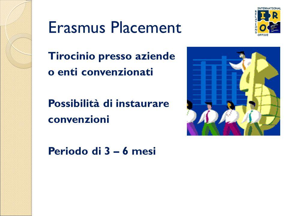 Erasmus Placement Tirocinio presso aziende o enti convenzionati Possibilità di instaurare convenzioni Periodo di 3 – 6 mesi