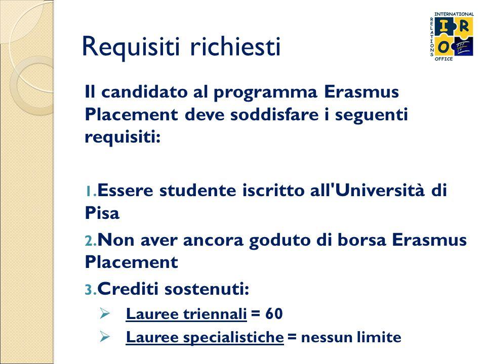 Requisiti richiesti Il candidato al programma Erasmus Placement deve soddisfare i seguenti requisiti: 1. Essere studente iscritto all'Università di Pi