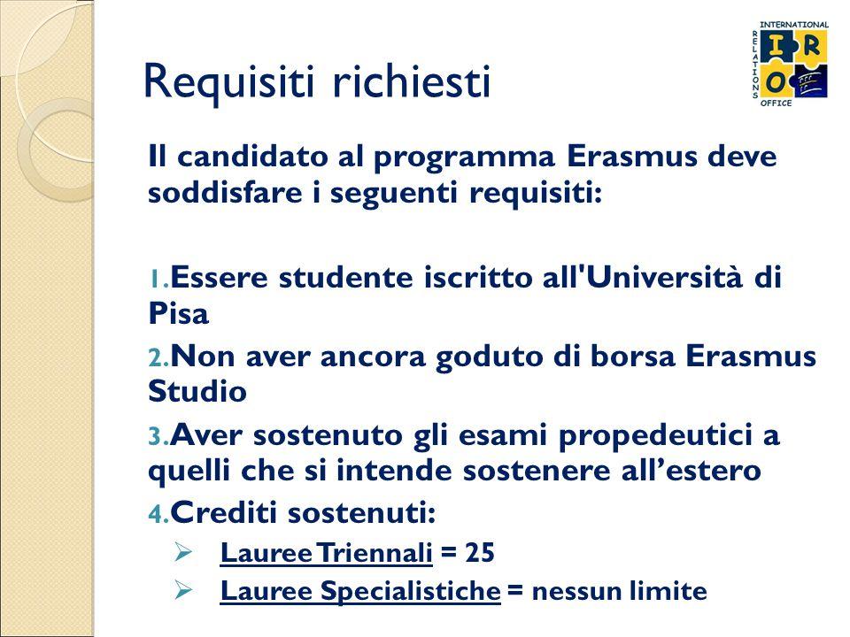 Requisiti richiesti Il candidato al programma Erasmus deve soddisfare i seguenti requisiti: 1. Essere studente iscritto all'Università di Pisa 2. Non