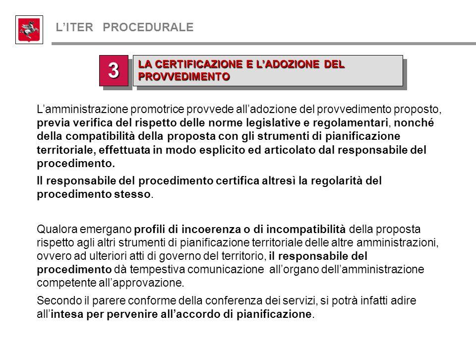 L'amministrazione promotrice provvede all'adozione del provvedimento proposto, previa verifica del rispetto delle norme legislative e regolamentari, n
