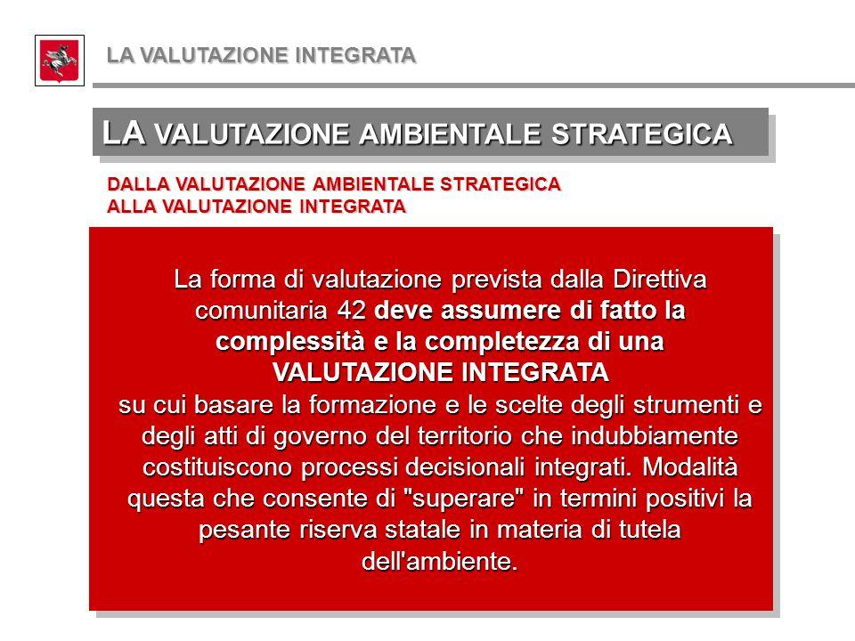 LA VALUTAZIONE AMBIENTALE STRATEGICA DALLA VALUTAZIONE AMBIENTALE STRATEGICA ALLA VALUTAZIONE INTEGRATA La forma di valutazione prevista dalla Diretti