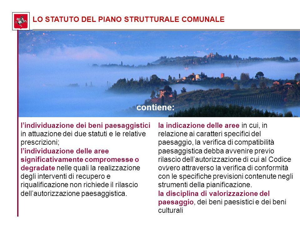 ; LO STATUTO DEL PIANO STRUTTURALE COMUNALE l'individuazione dei beni paesaggistici in attuazione dei due statuti e le relative prescrizioni; l'indivi