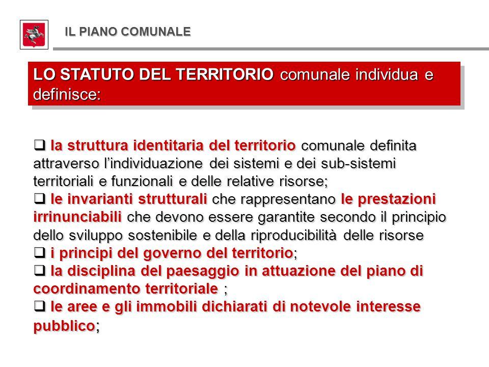  la struttura identitaria del territorio comunale definita attraverso l'individuazione dei sistemi e dei sub-sistemi territoriali e funzionali e dell