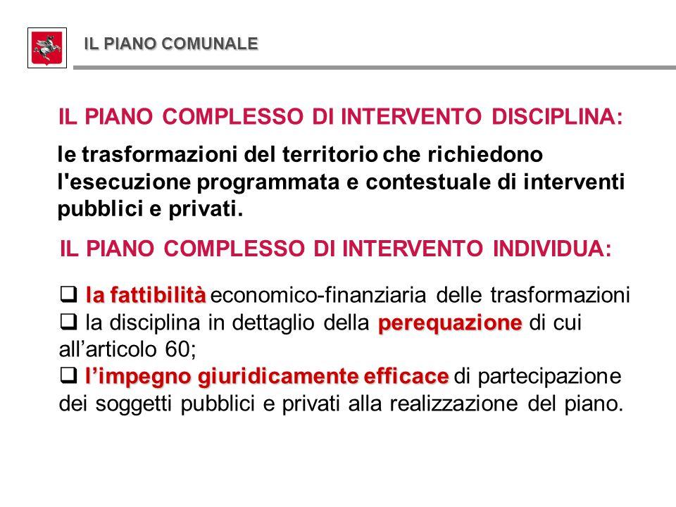 IL PIANO COMPLESSO DI INTERVENTO DISCIPLINA: le trasformazioni del territorio che richiedono l'esecuzione programmata e contestuale di interventi pubb