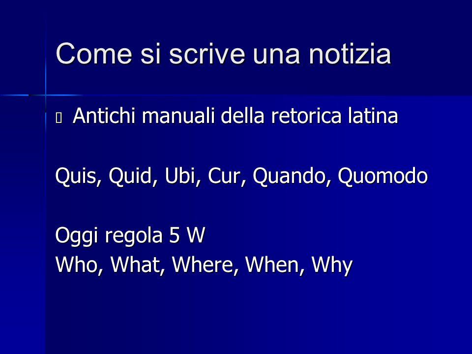 Come si scrive una notizia  Antichi manuali della retorica latina Quis, Quid, Ubi, Cur, Quando, Quomodo Oggi regola 5 W Who, What, Where, When, Why