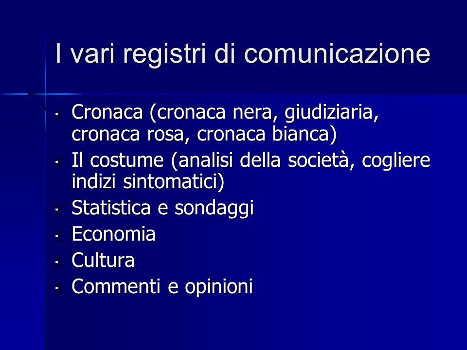 I vari registri di comunicazione  Cronaca (cronaca nera, giudiziaria, cronaca rosa, cronaca bianca)  Il costume (analisi della società, cogliere ind