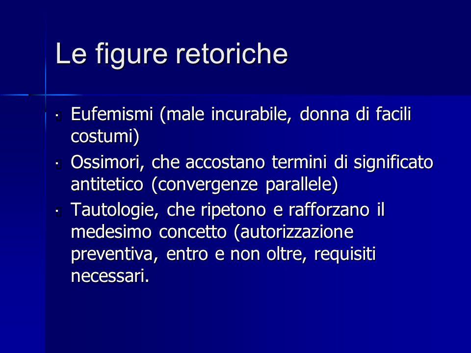 Le figure retoriche  Eufemismi (male incurabile, donna di facili costumi)  Ossimori, che accostano termini di significato antitetico (convergenze pa