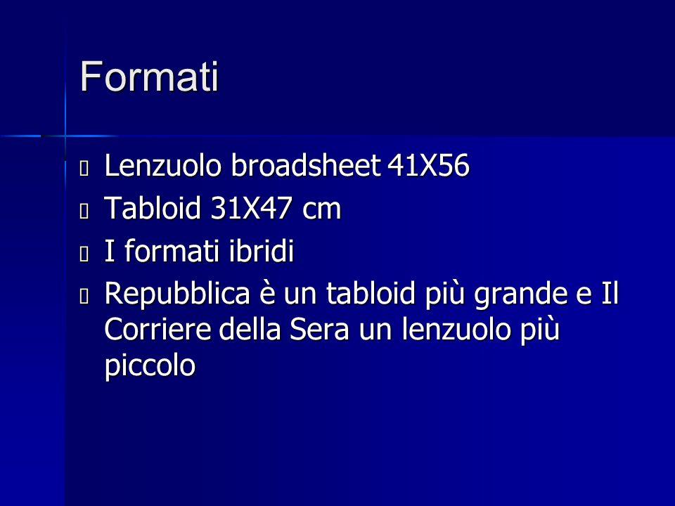 Formati  Lenzuolo broadsheet 41X56  Tabloid 31X47 cm  I formati ibridi  Repubblica è un tabloid più grande e Il Corriere della Sera un lenzuolo pi
