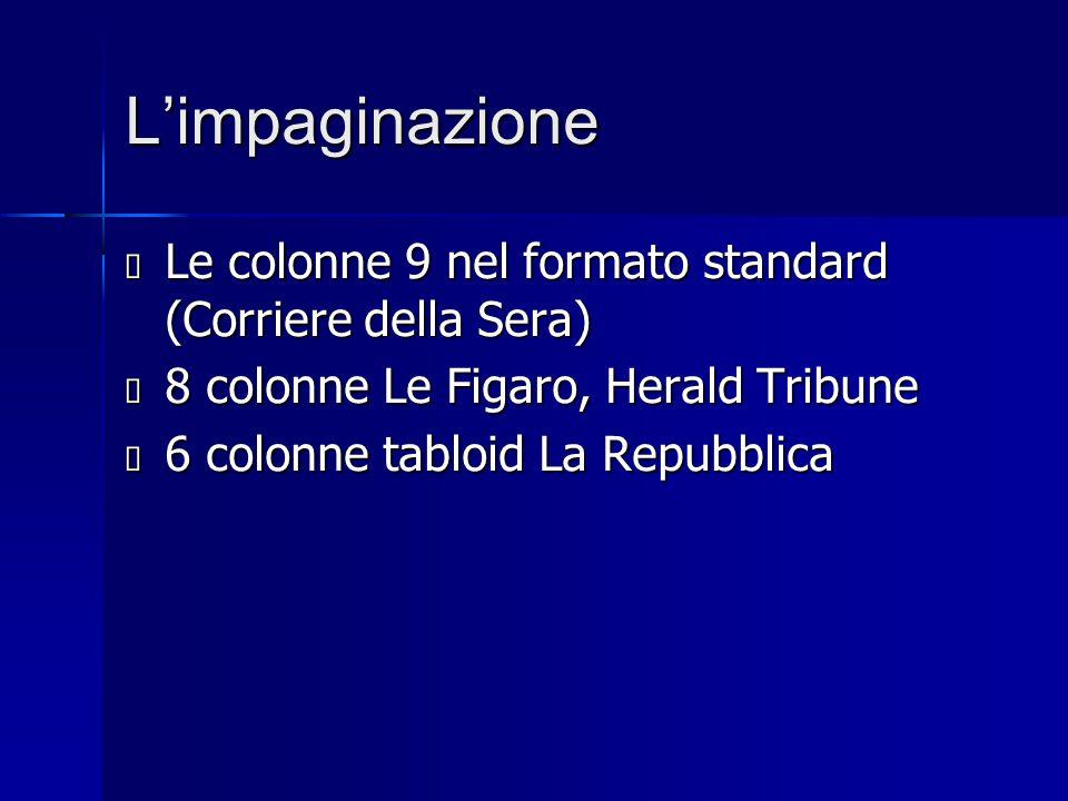 L'impaginazione  Le colonne 9 nel formato standard (Corriere della Sera)  8 colonne Le Figaro, Herald Tribune  6 colonne tabloid La Repubblica