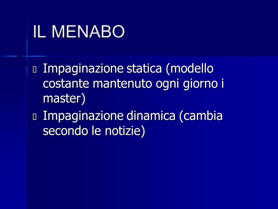 IL MENABO  Impaginazione statica (modello costante mantenuto ogni giorno i master)  Impaginazione dinamica (cambia secondo le notizie)
