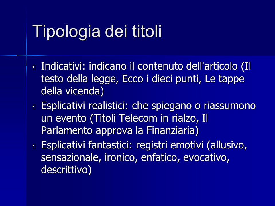 Tipologia dei titoli  Indicativi: indicano il contenuto dell ' articolo (Il testo della legge, Ecco i dieci punti, Le tappe della vicenda)  Esplicat