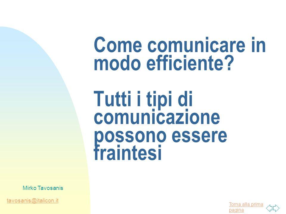 Torna alla prima pagina tavosanis@italicon.it Mirko Tavosanis Come comunicare in modo efficiente? Tutti i tipi di comunicazione possono essere frainte