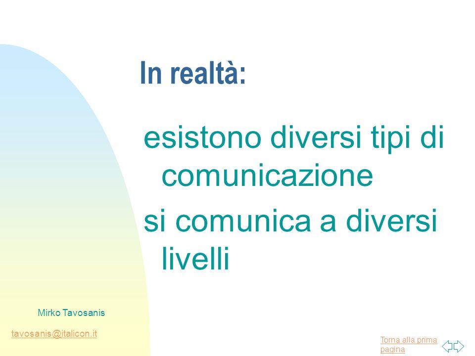 Torna alla prima pagina tavosanis@italicon.it Mirko Tavosanis In realtà: esistono diversi tipi di comunicazione si comunica a diversi livelli