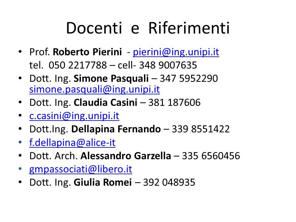 Docenti e Riferimenti Prof. Roberto Pierini - pierini@ing.unipi.itpierini@ing.unipi.it tel. 050 2217788 – cell- 348 9007635 Dott. Ing. Simone Pasquali