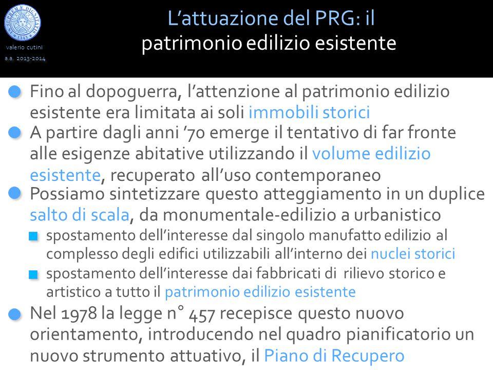 valerio cutini a.a. 2013-2014 L'attuazione del PRG: il patrimonio edilizio esistente spostamento dell'interesse dal singolo manufatto edilizio al comp