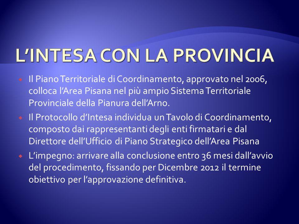  Il Piano Territoriale di Coordinamento, approvato nel 2006, colloca l'Area Pisana nel più ampio Sistema Territoriale Provinciale della Pianura dell'Arno.