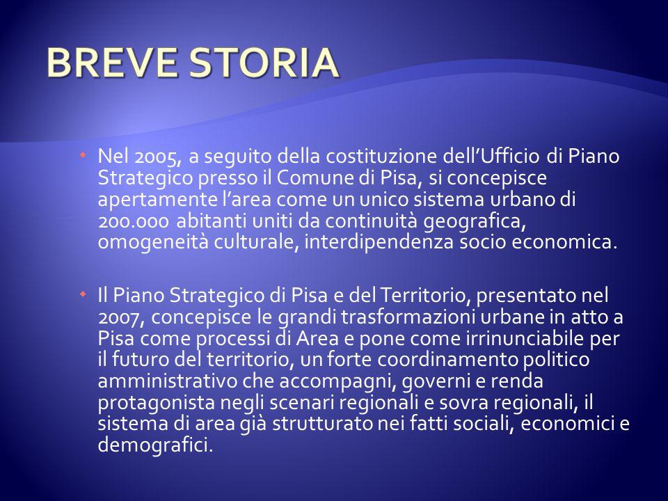  Nel 2005, a seguito della costituzione dell'Ufficio di Piano Strategico presso il Comune di Pisa, si concepisce apertamente l'area come un unico sistema urbano di 200.000 abitanti uniti da continuità geografica, omogeneità culturale, interdipendenza socio economica.