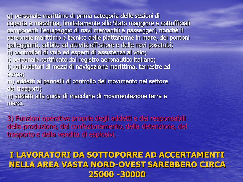 g) personale marittimo di prima categoria delle sezioni di coperta e macchina, limitatamente allo Stato maggiore e sottufficiali componenti l'equipagg