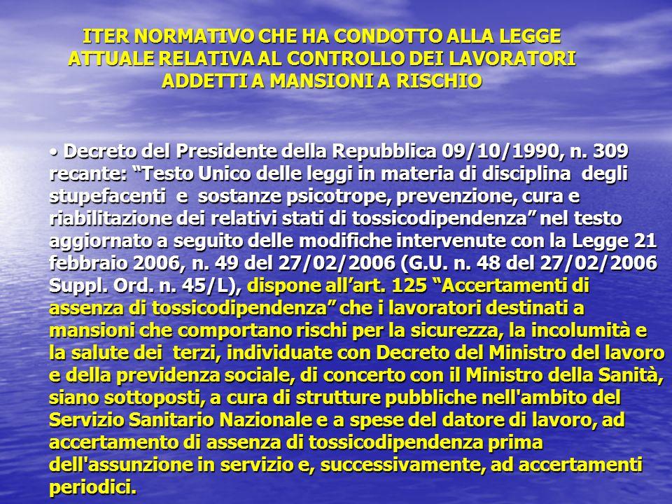 """Decreto del Presidente della Repubblica 09/10/1990, n. 309 recante: """"Testo Unico delle leggi in materia di disciplina degli stupefacenti e sostanze ps"""