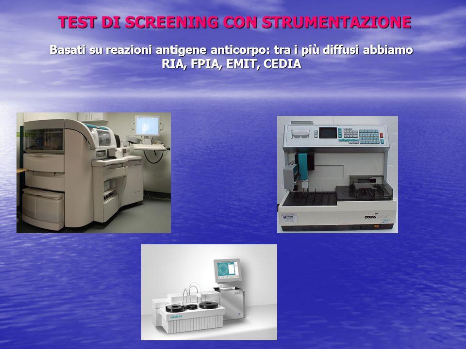 TEST DI SCREENING CON STRUMENTAZIONE Basati su reazioni antigene anticorpo: tra i più diffusi abbiamo RIA, FPIA, EMIT, CEDIA