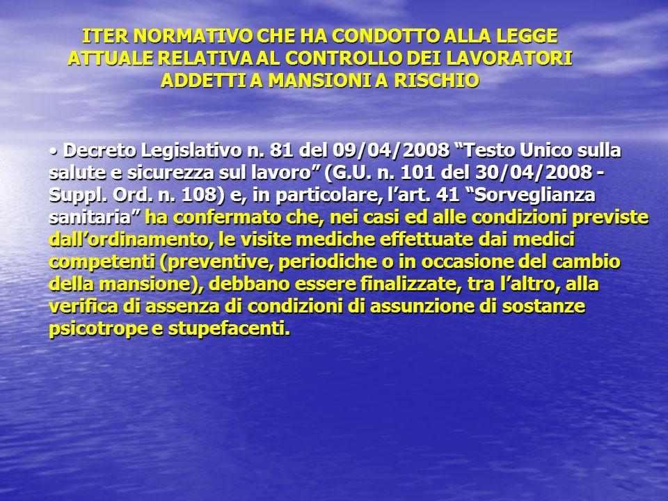 Decreto Legislativo n.81 del 09/04/2008 Testo Unico sulla salute e sicurezza sul lavoro (G.U.