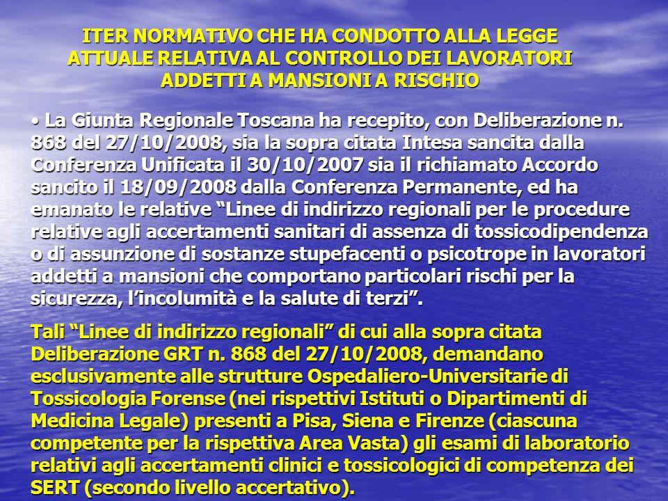 La Giunta Regionale Toscana ha recepito, con Deliberazione n. 868 del 27/10/2008, sia la sopra citata Intesa sancita dalla Conferenza Unificata il 30/