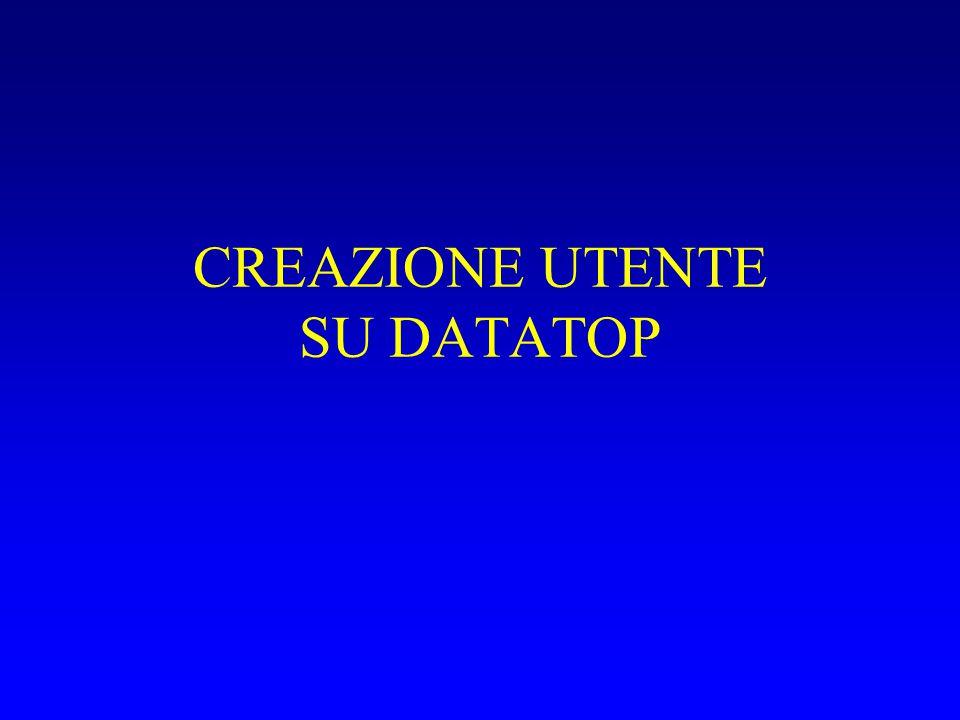 CREAZIONE UTENTE SU DATATOP