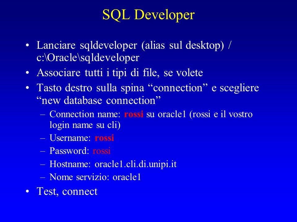 """SQL Developer Lanciare sqldeveloper (alias sul desktop) / c:\Oracle\sqldeveloper Associare tutti i tipi di file, se volete Tasto destro sulla spina """"c"""