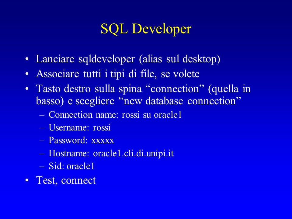 Test Creo una directory ~/ese1bdl Copio nella directory tutti i files che trovo in Risorse del Corso->Materiale per gli esercizi->ese1 ) ovvero in http://www.di.unipi.it/~ghelli/didattica/bdl07/eserc izi/ese1/), oppure in ~ghelli/bdl07/ese1