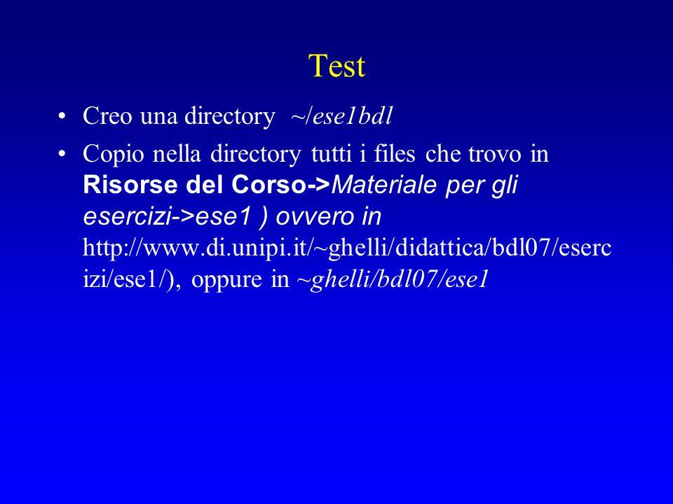 Eseguire un file DDL Caricate (file-open) ese1bdl/create.sql nell'editor interno (C:\Documents and Settings\rossi\Desktop\ese1bdl\...) Dal tab sopra l'angolo destro della finestra che contiene lo script selezionate la connessione Fate un click sulla seconda icona sopra la finestra (run script, f5) Messaggio: ERROR at line 1: ORA-00942: table or view does not exist Table created.