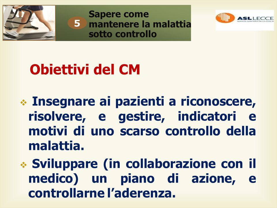 Obiettivi del CM  Insegnare ai pazienti a riconoscere, risolvere, e gestire, indicatori e motivi di uno scarso controllo della malattia.