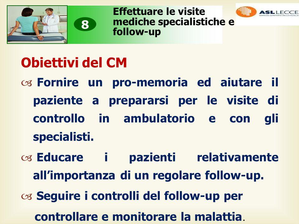 Obiettivi del CM  Fornire un pro-memoria ed aiutare il paziente a prepararsi per le visite di controllo in ambulatorio e con gli specialisti.