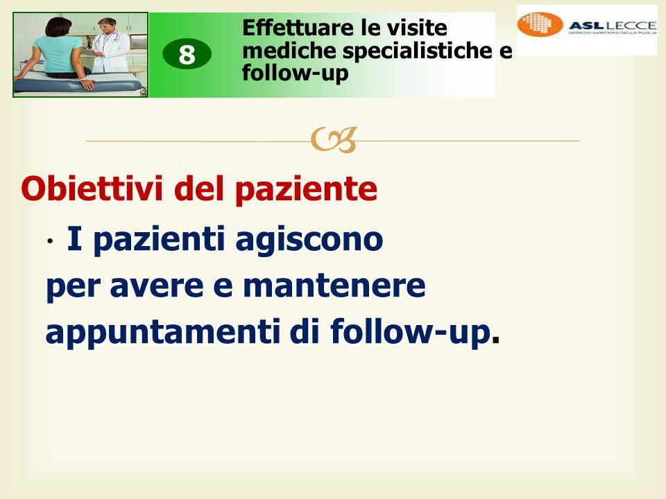  Obiettivi del paziente Effettuare le visite mediche specialistiche e follow-up 8 I pazienti agiscono I pazienti agiscono per avere e mantenere appuntamenti di follow-up.