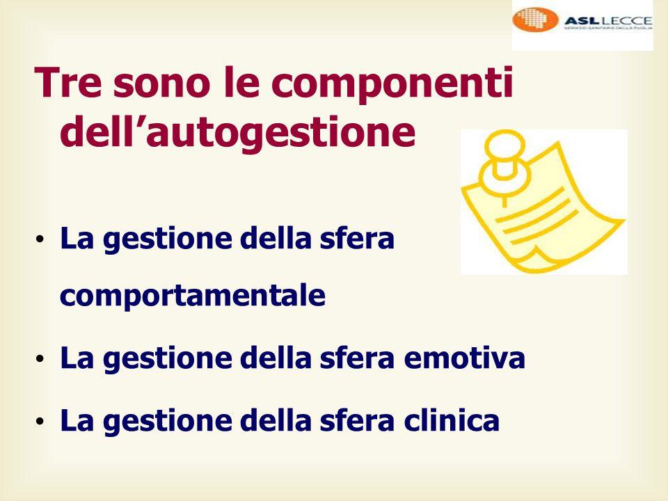 Tre sono le componenti dell'autogestione La gestione della sfera comportamentale La gestione della sfera emotiva La gestione della sfera clinica