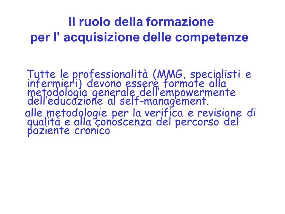 Tutte le professionalità (MMG, specialisti e infermieri) devono essere formate alla metodologia generale dell'empowermente dell'educazione al self-man