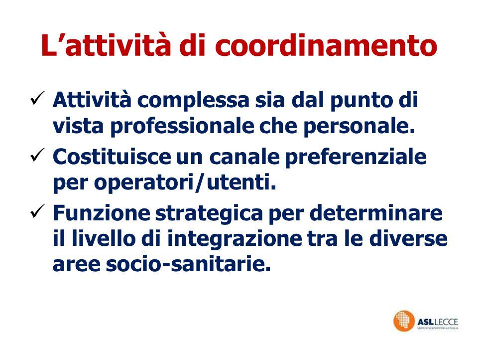 L'attività di coordinamento Attività complessa sia dal punto di vista professionale che personale. Costituisce un canale preferenziale per operatori/u