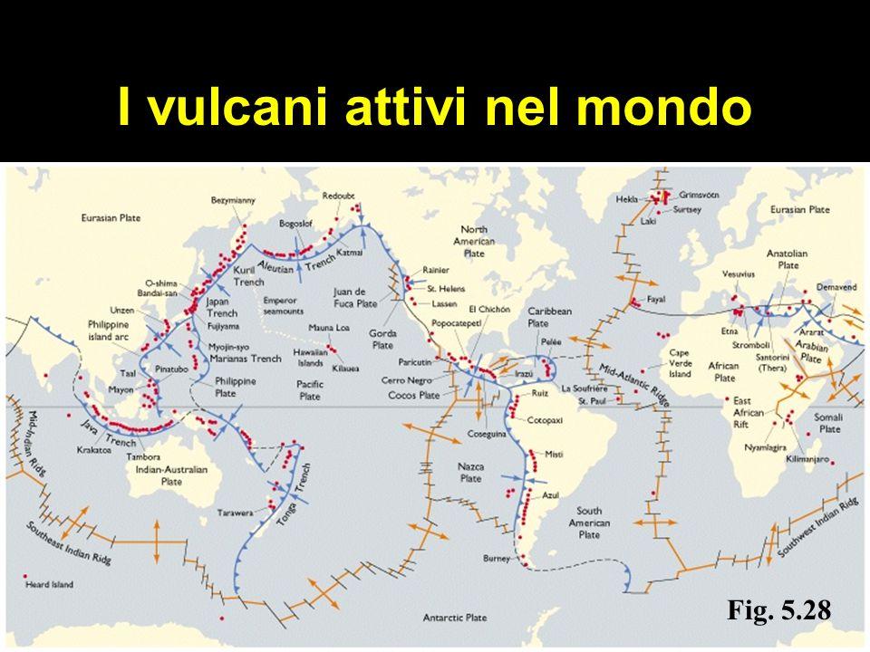 I vulcani attivi nel mondo Fig. 5.28