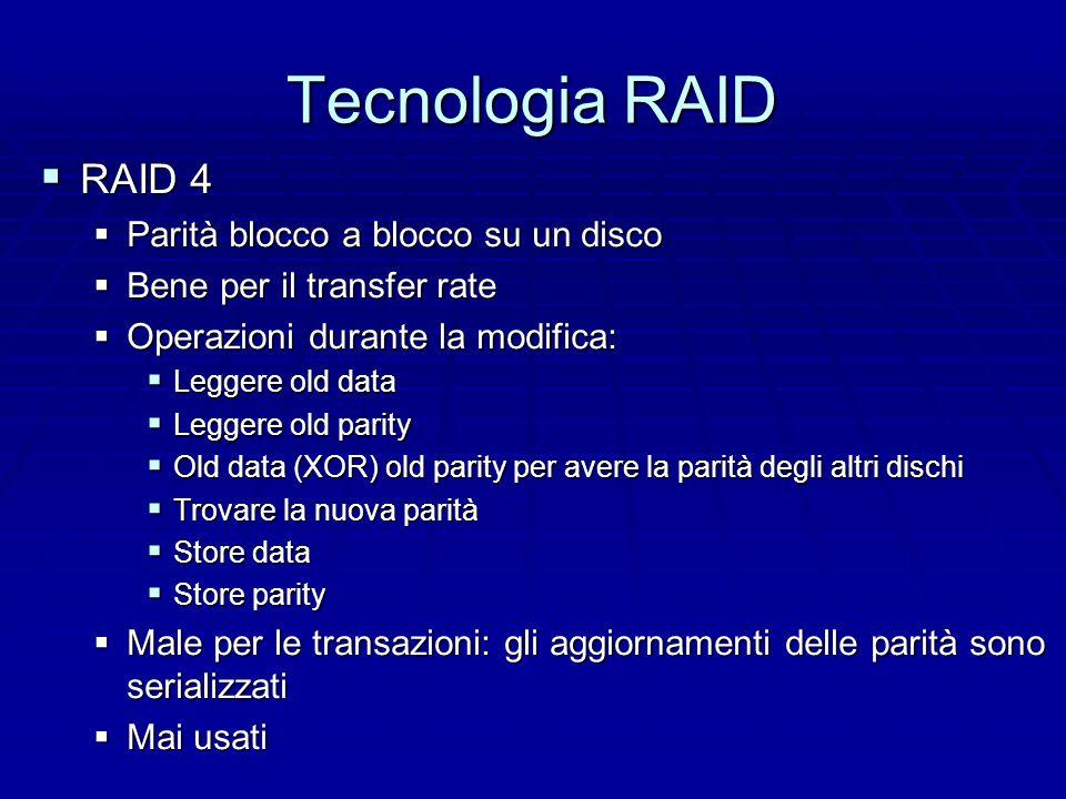 Tecnologia RAID  RAID 3  Come level 2 ma con la parità e non bit a bit  L'hamming code crea gli svantaggi come in RAID 2
