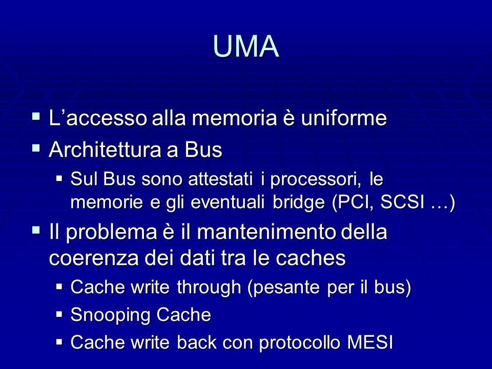 UMA  L'accesso alla memoria è uniforme  Architettura a Bus  Sul Bus sono attestati i processori, le memorie e gli eventuali bridge (PCI, SCSI …)  Il problema è il mantenimento della coerenza dei dati tra le caches  Cache write through (pesante per il bus)  Snooping Cache  Cache write back con protocollo MESI