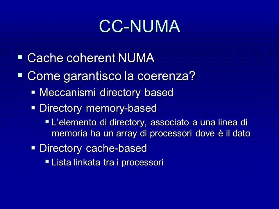 CC-NUMA  Cache coherent NUMA  Come garantisco la coerenza.