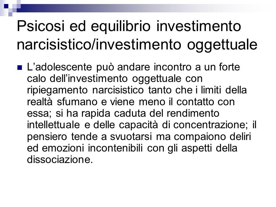 Psicosi ed equilibrio investimento narcisistico/investimento oggettuale L'adolescente può andare incontro a un forte calo dell'investimento oggettuale